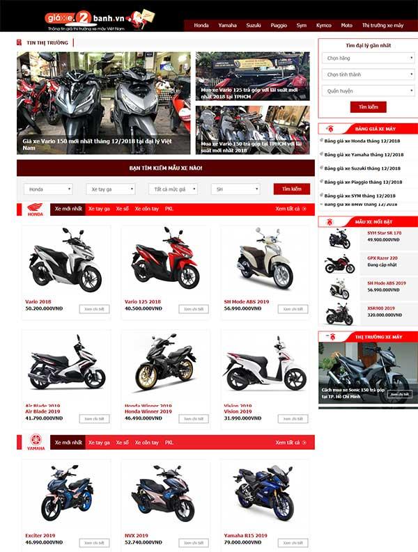 dịch vụ thiết kế web xe máy uy tín tại hải phòng
